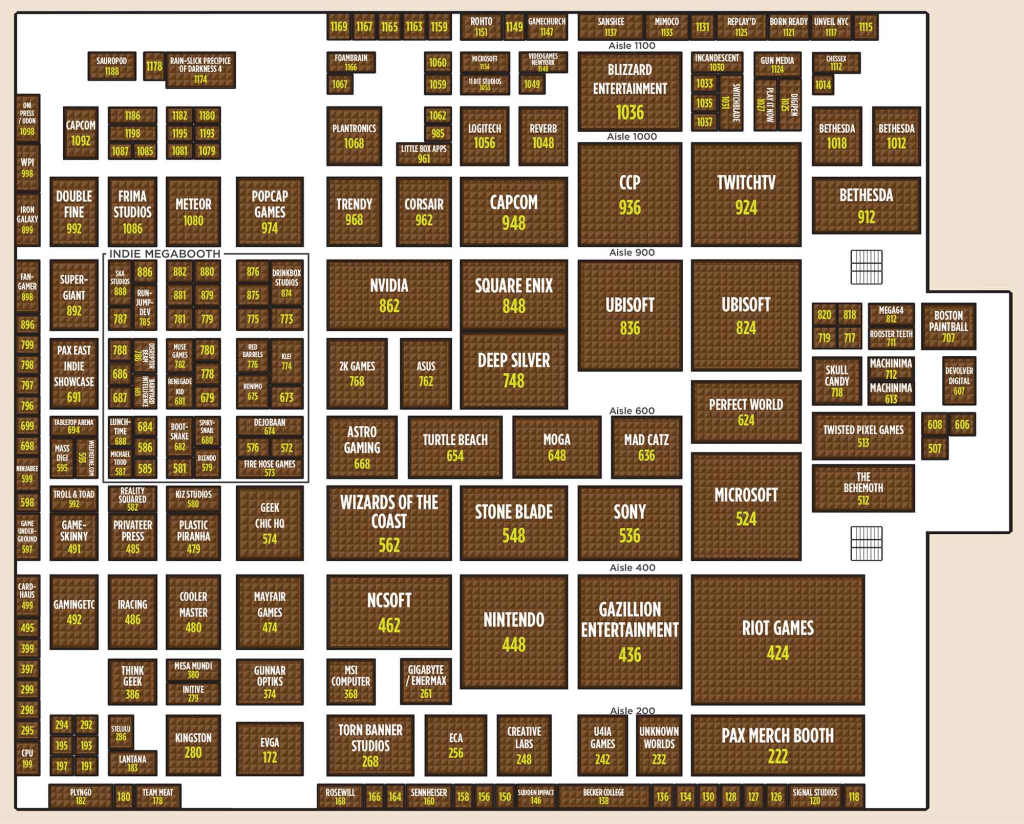 PAX East 2013 Exhibitor Hall Map